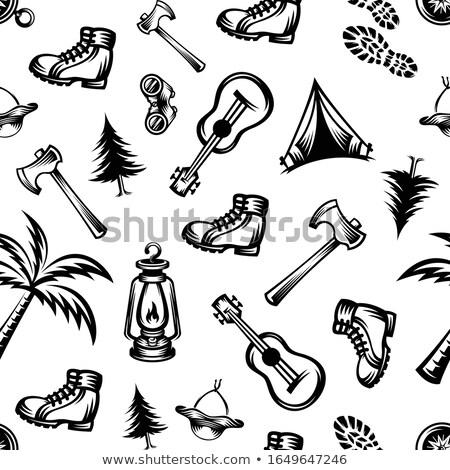 vector flat style medieval battle ax illustration icon Stock photo © TRIKONA