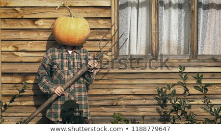 Halloween concept with woman holding pitchfork Stock photo © Elnur