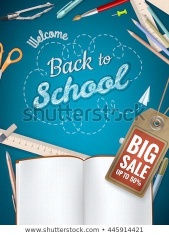 terug · naar · school · doodle · kinderen · school · versnelling - stockfoto © beholdereye