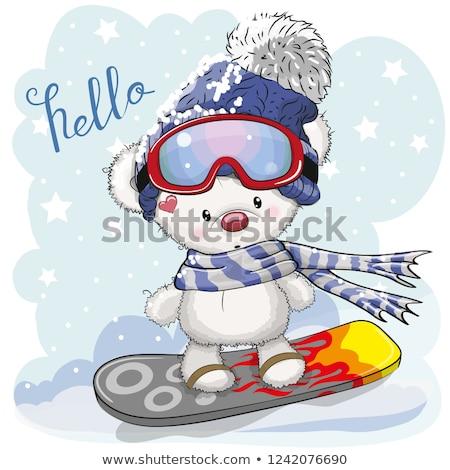 Pingwin snowboard zimą ilustracja charakter śniegu Zdjęcia stock © adrenalina