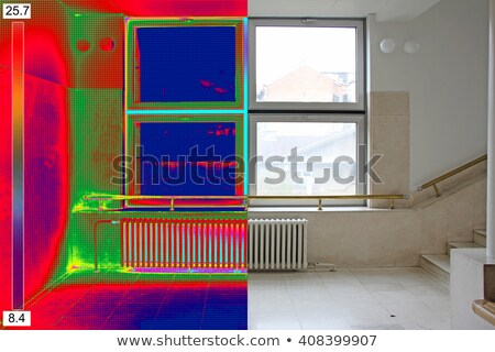 Thermal and real Image of Radiator Heater and a window on a buil Stock photo © smuki