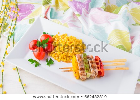 Tyúk kebab csemegekukorica hús kukorica bors Stock fotó © Digifoodstock