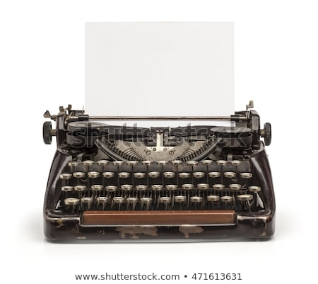 close up of vintage typewriter with paper isolated on white back stock photo © lostation
