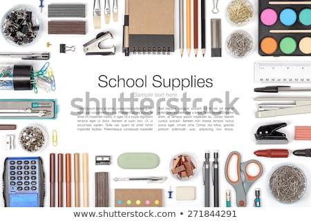 Notebooka gumki władcy farbują tle kolor Zdjęcia stock © OleksandrO
