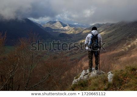 Trekking adam örnek gün batımı doğa siluet Stok fotoğraf © adrenalina