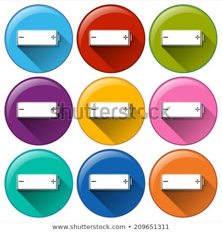 Baterii ikona pozytywny negatywne podpisania Zdjęcia stock © bluering