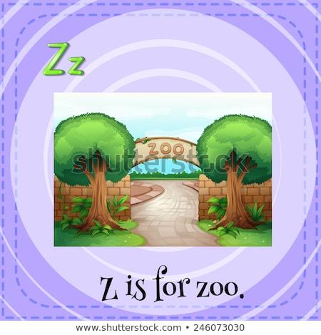 Dierentuin illustratie bos achtergrond kunst Stockfoto © bluering