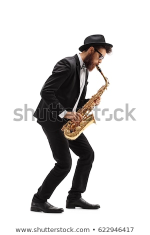 Golden saxophone on white background Stock photo © bluering