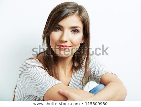 portré · gyönyörű · fiatal · nő · lila · kreatív · smink - stock fotó © deandrobot