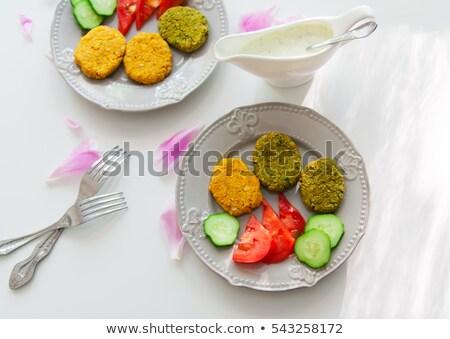 Zöldségek mártás íz hamburger copy space függőleges Stock fotó © faustalavagna