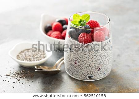 Puding bogyók üveg háttér bank eszik Stock fotó © tycoon