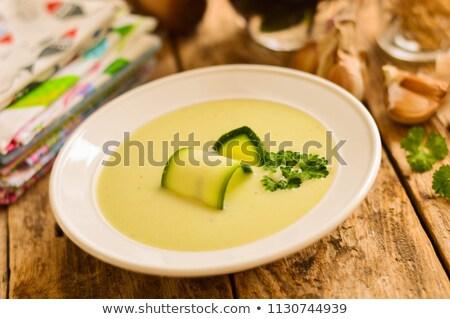 Courgette feta soupe alimentaire bois fond Photo stock © M-studio