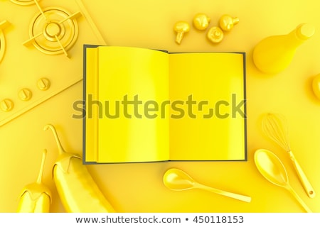 Vegetables, kitchen tools and empty open cookbook. Top view. 3D  Stock photo © Kirill_M