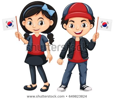 çocuklar bayrak güney çocuk arka plan Stok fotoğraf © bluering