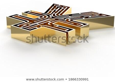Altın bilmece yen imzalamak altın yalıtılmış Stok fotoğraf © Oakozhan