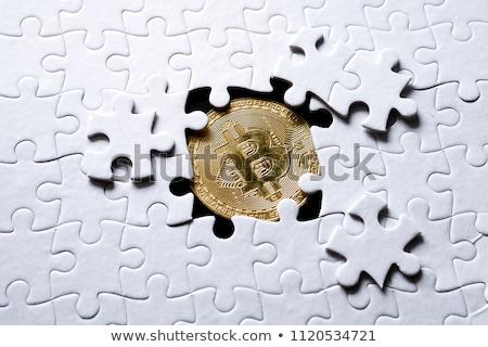 Altın bilmece bitcoin imzalamak altın yalıtılmış Stok fotoğraf © Oakozhan
