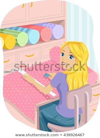 подростка девушка ткань швейных иллюстрация Сток-фото © lenm