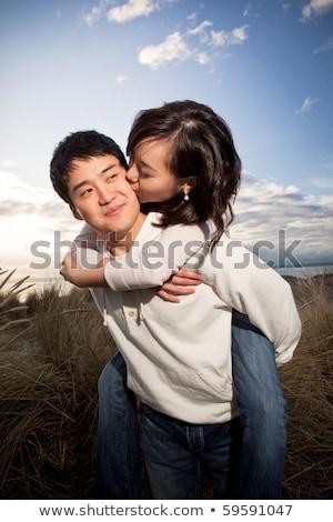 çiftler · öpüşme · portre · mutlu · romantik · yeni · evliler - stok fotoğraf © is2