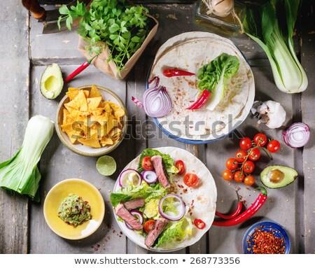 Stock fotó: Friss · nachos · zöldség · saláta · hús · chili