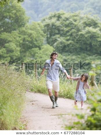 Apa felfelé sáv lánygyermek család férfi Stock fotó © IS2