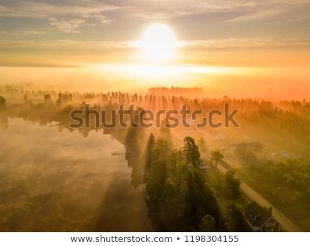 夏 風景 霧 村 午前 教会 ストックフォト © Kotenko