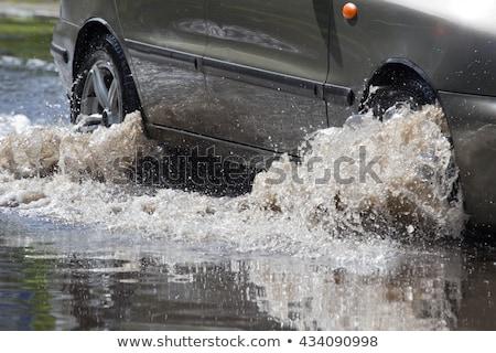 道路 漫画 シーン 外に 洪水 ツリー ストックフォト © blamb