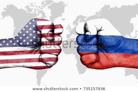 конфликт США Россия прямоугольный флагами темно Сток-фото © romvo