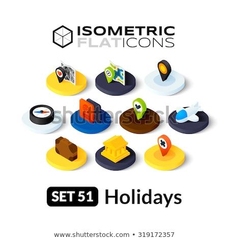 Látnivalók izometrikus ikon izolált szín vektor Stock fotó © sidmay