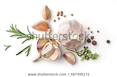 голову · чеснока · травы · деревянный · стол · здоровое · питание · деревенский - Сток-фото © m-studio