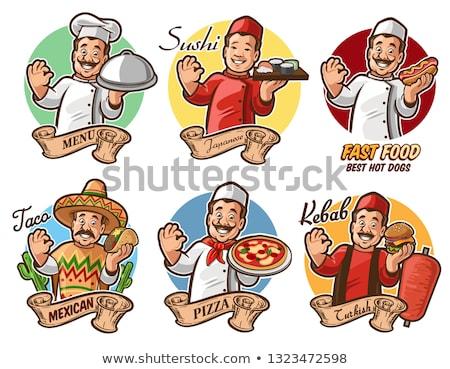 Cartoon повар кебаб иллюстрация человека хлеб Сток-фото © Krisdog