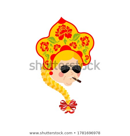 Russia Cool serious avatar of emotions. Russian Girl smoking cig Stock photo © popaukropa