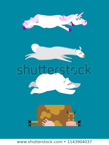 Sleeping animals set 3. Unicorn and Polar Bear. Cow and llama. W Stock photo © popaukropa