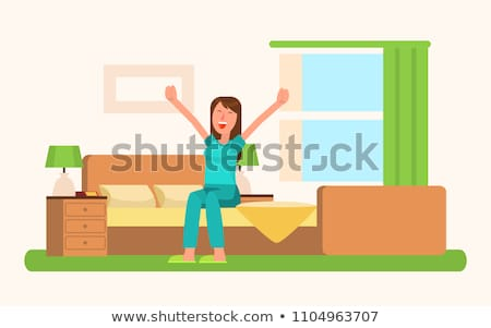 Woman in Good Mood Waking Up Vector Illustration Stock photo © robuart