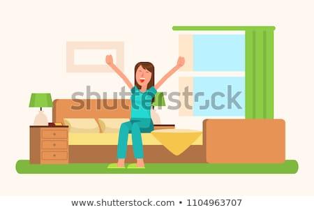 Nő jó hangulat felfelé nyújtás kezek ül Stock fotó © robuart