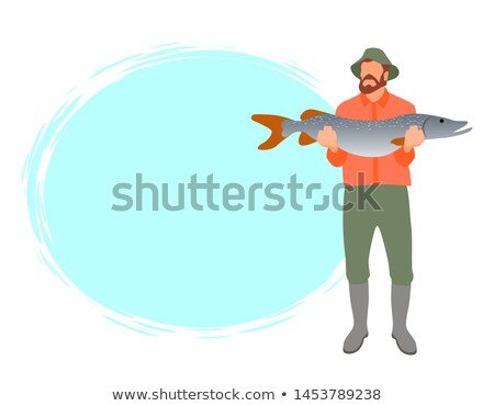 Fisherman Color Model Form Poster With Text Sample Stock photo © robuart