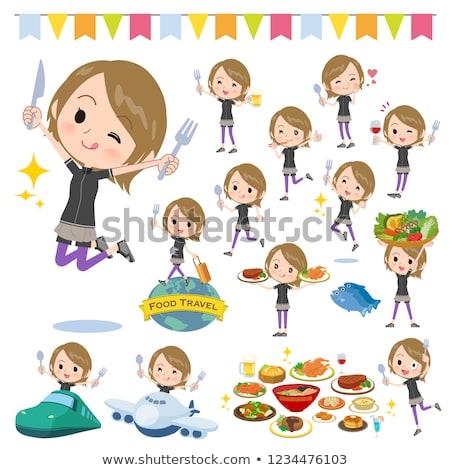 Kort haar vrouwen festival ingesteld sportkleding voedsel Stockfoto © toyotoyo