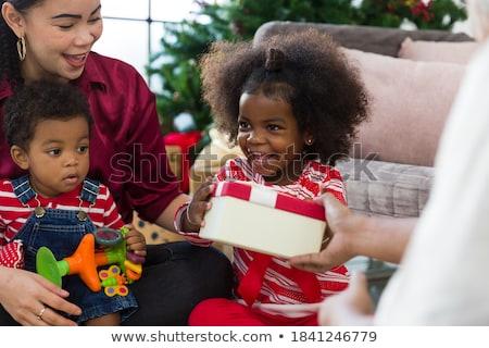 Stockfoto: Christmas · geschenken · mooie · meisje · plezier · gelukkig