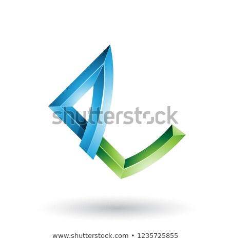 Blue and Green Embossed Letter E with Bended Joints Vector Illus Stock photo © cidepix