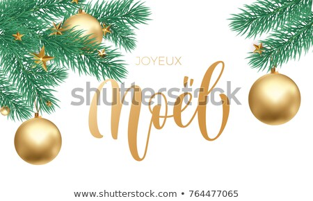 Gold Christmas tree ornament card in french Stock photo © cienpies