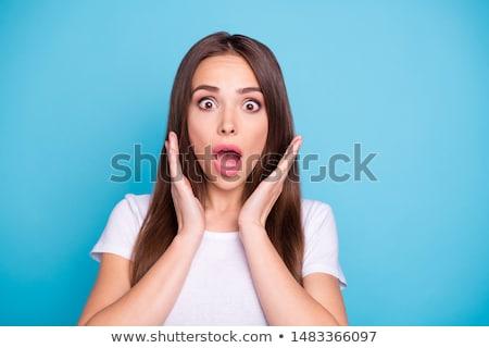 Portret przerażony kobieta ciemne kręcone włosy Zdjęcia stock © deandrobot