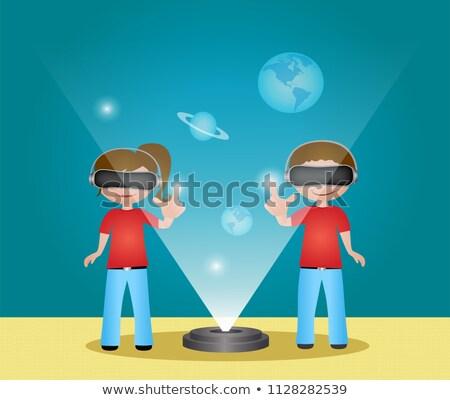 Stockfoto: Virtueel · realiteit · meisjes · jongens · cartoon · banner
