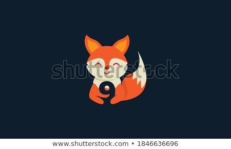 Cartoon vos aantal negen illustratie abstract Stockfoto © colematt