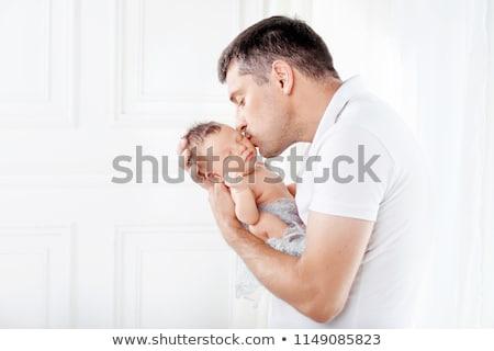 Portret vader weinig baby dochter familie Stockfoto © dolgachov
