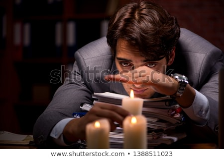 ストックフォト: ビジネスマン · 作業 · 遅い · オフィス · キャンドル · 光