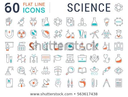 Foto stock: Biologia · ícones · ciência · educação · vetor · estilo