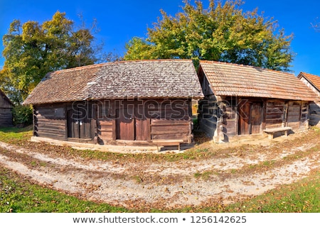 Wine historic street vineyards and wooden cottages view stock photo © xbrchx