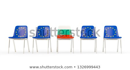 Row of chairs with flag of EU and bulgaria Stock photo © MikhailMishchenko