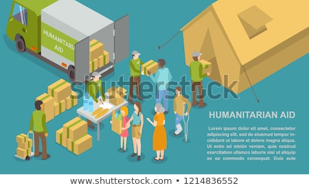 Humanitarian Help and Aid for People Poster Vector Stock photo © robuart
