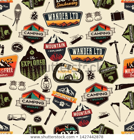 camping patches pattern design   outdoors adventure seamless background with backpack and quote   pa stock photo © jeksongraphics