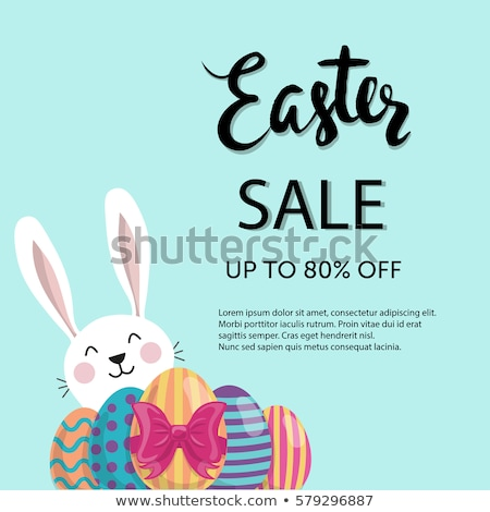 easter sale illustration with color painted egg and typography element on abstract background vecto stock photo © articular